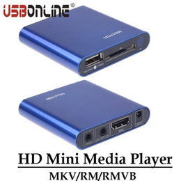 Wholesale Ypbpr Usb - Wholesale- Multimedia HD 1080P Mini Media Player HDMI CVBS YPbPr Ouput MKV RM RMVB H.264 Player Support USB Disk SD SDHC Card
