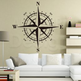 Wholesale Gps Sailing - Art Design home decoration Vinyl Compass Wall Sticker removable house decor PVC sailing GPS decals in family rooms