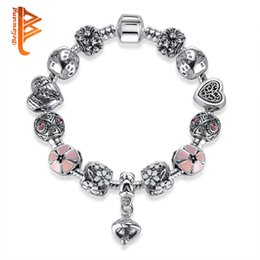 Wholesale Mushroom Charms Pendants - BELAWANG Pink Enamel Flower Heart Beads Bracelets Silver Plated Snake Chain Charm Bracelets with Silver Mushroom Pendant Fashion Jewelry