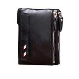 Wholesale Soft Zip Wallet - wallet for men short bifold double zip brand design genuine leather soft touching high end oem welcome