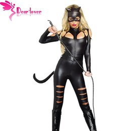 Wholesale Fighting Cat - DearLover 3 Pieces Suit Set Cosplay Halloween For Women Sexy Cat Fight Costume Bodysuit Kit Animal Catwomen LC8907 Free Shipping 17410