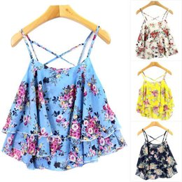 Wholesale Wide Fat Woman - New Chiffon Printed Cross Straps Women summer beach tops Floral wide seaside camis for fat giirls