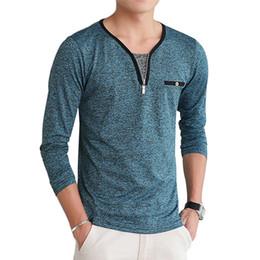 Wholesale Slim Fit Designer Shirts Men - New Mens Designer T Shirt Long Sleeve V Neck Men t-shirt Cotton Slim Fit Tops Tees Male tshirt Camiseta Brand Clothing