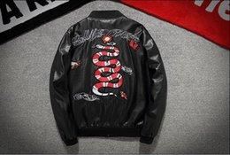 Wholesale Jacket Leather Man Pilot - kanye west high quality embroidered snake PU leather jacket jacket MA-1 men pilot hip hop baseball Y-3 yeezus motorcycle jacket