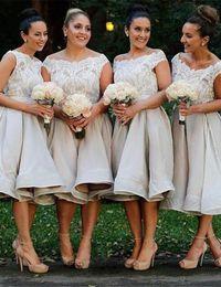Wholesale White Tea Bridesmaid Dresses - Scoop Lace Tea Leagth Sleeveless Simple Cheap Formal Bridesmaid Dress Formal Dresses Wedding Dresses Custom Made