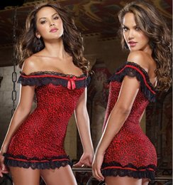 Wholesale Leopard Lace Costume - Sexy Lingerie women sexy costumes Erotic lingerie Underwear Red Leopard temptation Strapless lace sexy full dress sleepwear slip