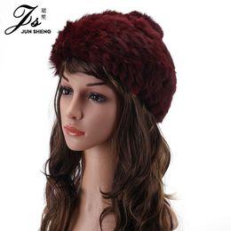 Wholesale Paragraph Rabbit - Wholesale- 2016 New Female Rabbit Hair Hat In Winter Fur Hat Beret Lady Paragraph Tide