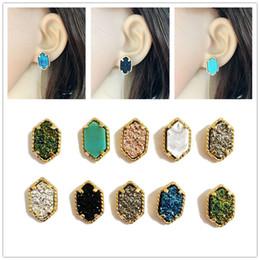 Wholesale Wholesale Druzy Earrings - Trendy oval Druzy stud earrings Silver Gold Filled Drusy Geometry Stone earrings Best for Lady Various Colors CHOOSE