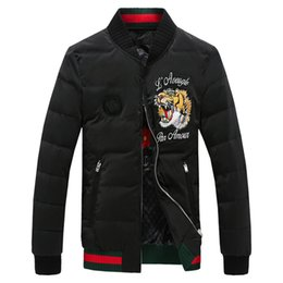 Wholesale Painting Thick - Wholesale- Winter new men favors down jacket han edition cultivate one's morality tiger embroidery Male white duck down coat