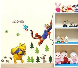 Wholesale Winnie Pooh Sticker Wallpaper - Hot Cartoon Winnie the Pooh and friends Kids Room living room decorative wall stickers decals Art PVC wallpaper room decor *