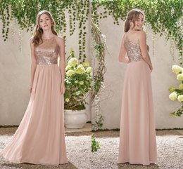 Wholesale Images Hot White Rose - Rose Golden A Line Bridesmaid Dresses 2017 Simple Long Chiffon Bridesmaid Gowns Jewel Neck Off the Shoulder Wedding Guest Dresses Hot Sale