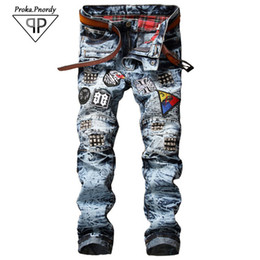 Wholesale Boots Coat - Wholesale- Proka Pnordy 2017 Men's badge patch ripped biker jeans Casual snow acid washed denim pants Pleated slim straight long trousers