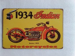 Wholesale Motorcycle Retro - 1934 Indian Motorcycle tin sign Vintage home Bar Pub Hotel Restaurant Coffee Shop home Decorative Metal Retro Metal Poster Tin Sign
