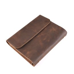 Wholesale Ipad Vintage - Vintage Classic split cowhide Leather Cover Business A5 Notebook Diary Business Official loose-leaf journal ipad mini holder