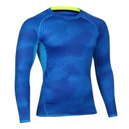 Wholesale Wholesale Stretch Long T Shirts - Male Autumn Winter Sports Cycling Fitness Long Sleeves T Shirt Basketball Running Training Stretch Fast Dry Tight Gym Cloth