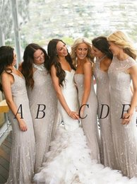 Wholesale Grey Organza Bridesmaid Dresses - Popular Grey Mermaid Best Junior Bridesmaids Dresses Jewel Neckline Sequined party gowns Sheer Neck Floor-Length Cocktail Dress
