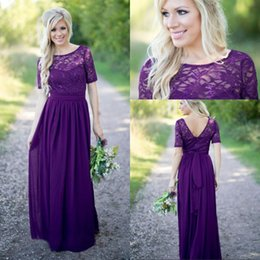 cc4960d59f6 2017 Purple Bridesmaid Dresses Vintage Lace with Short Sleeves Open Back  Sash Chiffon Western Wedding Maid of Honor Dress Prom Evening Gowns