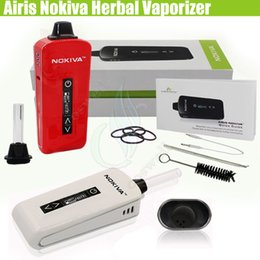 Wholesale Herbal Vaporizer Screens - Authentic Airis Nokiva Herbal Vaporizer kits Ceramic Donut Dry Herb wax Atomizer glass drip Touch Screen Temperature Control TC 2200mAh DHL