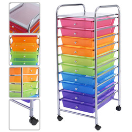 Wholesale 10 Drawer Rolling Storage Cart For Scrapbook Paper In Office School Organizer Color