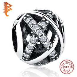 Wholesale 925 Woven - BELAWANG Wholesale 925 Sterling Silver Big Hole Beads Silver&Gold Hollow Weave Charm Beads fit Pandora Charm Braceletas DIY Jewelry Making