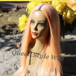 Wholesale Orange Front Lace Synthetic Wig - Tangerine Color Hair Wig Synthetic Straight Orange Hair Wig Fantasy Color Cosplay None Lace  Lace Front Wigs for Drag Queen