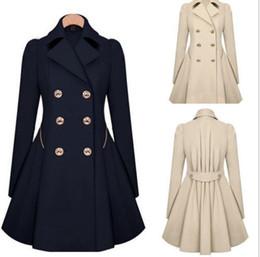 Wholesale Double Breasted Women Windbreaker - New Fashion Women Long Parka Coat Lapel Neck Outwear Winter Warm Trench Jacket Coats Windbreaker Parka Outwear Stylish Jacket