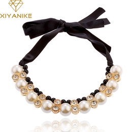 Wholesale Pearl Choker Necklace Row - Wholesale- Best Deal Diomedes Women Double Row Adjustable Band Ribbon Beads Rhinestone Necklace Imitation Pearl Chokers Necklaces Gift N102