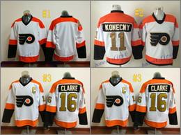 Wholesale Philadelphia Home Jersey - Philadelphia Flyers #11 Travis Konecny #16 bobby clarke #blank 2017 Hockey Jerseys Ice Winter Home Away Jersey Stitched Drop Shipping