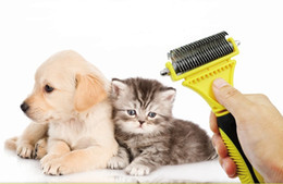 Wholesale Double Side Brush Comb - Professional Pet dematting comb ,Pet Dog Cat Hair Grooming Double Side Dematting Tool Dog Comb Pet Brush Rake 12 23 Blades