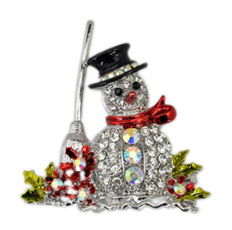 Wholesale Christmas Snowman Crystal Pins - Fashion Jewelry Christmas Brooch Rhinestone Crystal Brooches Jeweled Bell Snowman Deer Brooch And Pin Clothes Decor Christmas Gifts JF-449