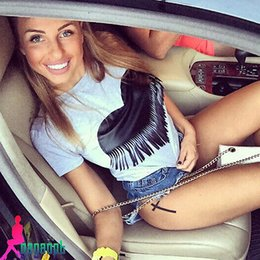 Wholesale Punk Rock Clothing Women - Wholesale- Fashion New Heart Tassel Women European T shirt Summer Women 2016 Punk Rock Fashion Graphic Tees Women Designer Clothing