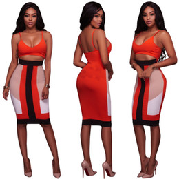 Wholesale Girls Sexy Hips - 2017 Summer Sexy Women Fashion Deep V Sling Bandage Dress Girl Party Midi Sexy Backless Package Hip Dresses