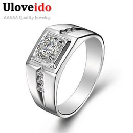 Wholesale Simulated Diamonds Jewelry For Men - Wedding Russia Big Fashion Married Ring for Men Rhinestone Jewelry with Simulated Diamond Rings J473