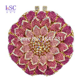Wholesale Metal Evening Purses - Wholesale- LaiSC Pink Circular Flower shape Evening Bag with Metal Diamond Ladies Evening Clutch Bag Party Crystal Purse Prom Pouch SC202-B