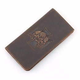 Wholesale Leather Long Billfolds - Crazy Horse Leather Billfolds Wallet Hot Selling 2017 Genuine Leather Skull Pattern Long Wallet Mens 8115