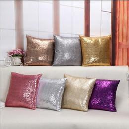 Wholesale Solid Square Pillow - DHL Free Sequins Pillow Case Cushion Cover Solid color Pillowcase Cover Sequin Glamour Square Pillow Case Home Sofa 40cm*40cm