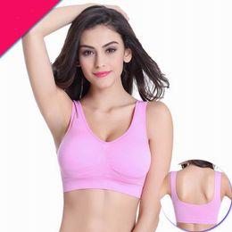f3aa972bf24c9 2017 New Sport Bra Pattern Ports Women Stretch Seamless Fitness Yoga Padded Sports  Fashion Single Layer Bra Gym Padded Cup
