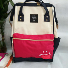 Wholesale Smile Handbags - Anello brand ladies bags smiling face Oxford fashion women handbags 4 colors quality large size travel leisure backpack