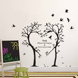 Wholesale tree life modern art - Family tree wall stickers creative love letters PVC waterproof wall stickers can be removed home decoration