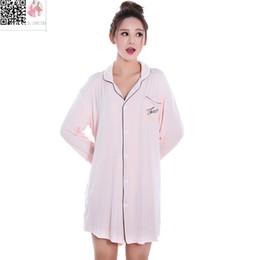 Wholesale Long Sexy Nighties - Wholesale- Summer Fashion Long Sleeved Cotton Sleepwear for Women Tops Black Pink Blouses&Shirts Dress Sexy Nightie Nightgown Sleepshirts