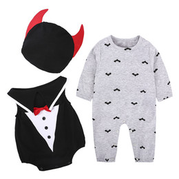Wholesale Boys Occasion Suits - 2017 Halloween Baby Rompers Clothing Sets Boys Girls Special Occasions Cosplay Costume Toddler Romper Caps Set Boutique Infant Clothes Suit