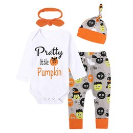 Wholesale Pumpkin Tutu - Halloween Baby Clothing Sets Boys Girl Outfits Autumn Letter pumpkin Printed Long Sleeve Romper + Trousers +Hat +Headband 4pcs Suits C1850