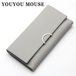 Wholesale Mouse Cross - YOUYOU MOUSE Simple Cross Pattern Wallets Ladies Long Fashion Envelope Coin Pocket Wallet Korean Style 3 Fold Card Holder Purse