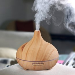 Wholesale Negative Ions Lamp - 300ml Timing function Air Humidifier Ultrasonic Essential Oil Diffuser LED Aroma Diffuser Lamp Air Purifiers Large Capacity Wood Grain
