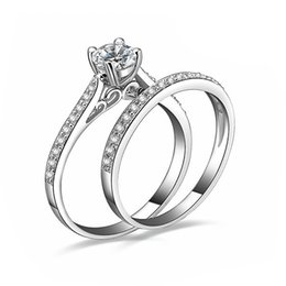 Wholesale Couple Lovers Charms - Charm Silver Rings For Women Bijoux Crystal Engagement Wedding Jewelry anel masculino Couple Rings For Lovers Size 6 7 8 9