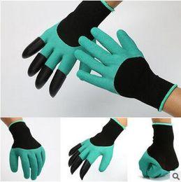 Водонепроницаемые садовые перчатки онлайн-Перчатки Garden Genie с 4-мя когтями, встроенными в когти Легкий способ выкапывать садовые перчатки для посадки Водонепроницаемые, устойчивые к шипам CCA5764 100 пара
