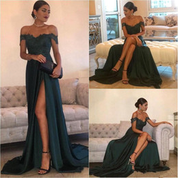Wholesale Blue Green Evening Dresses - Dark Green 2017 Sexy Prom Dresses A Line Chiffon Off-the-Shoulder Floor-Length High Side Split Lace Elegant Long Evening Dress Formal Dress