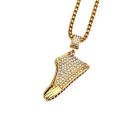 Wholesale Thick Charm Chain Necklace - Colorful Full Rhinestone Running shoes Necklaces Men Women Hip Hop thick Chains 18k Gold Plated Bling Jewelry Gifts pendants