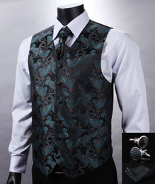 Wholesale Suit Vest Cravat - Wholesale- VE11 Green Black Paisley Top Design Wedding Men 100%Silk Waistcoat Vest Pocket Square Cufflinks Cravat Set for Suit Tuxedo