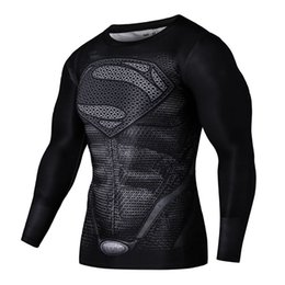 Wholesale Men S Clothing Costumes - Mens Compression Shirts Long Sleeves Fitness Superman Cosplay Costumes Clothing